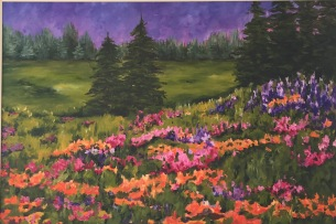 """Lupines & Poppies"" 36 x 24 o/c"