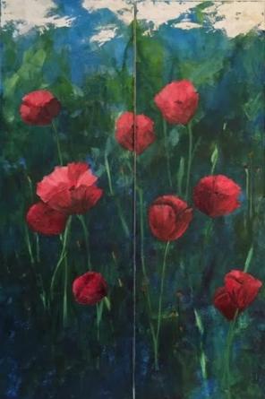 """Poppies"" 2 - 12 x 36 acrylic"