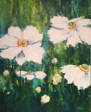 """White Flowers"" 24 x 30 acrylic"