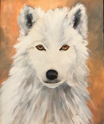 """White Wolf"" 16 x 20 acrylic"